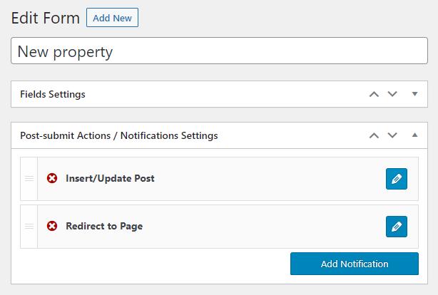 editing the insert/update post in jetengine form settings
