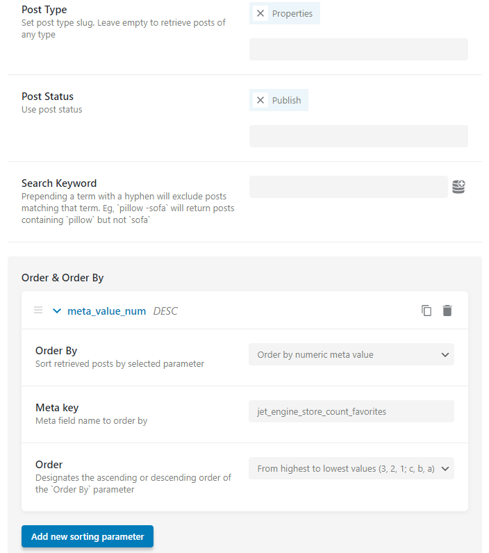 posts query setup in the query builder