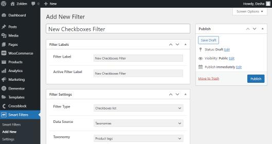 checkbox filter settings