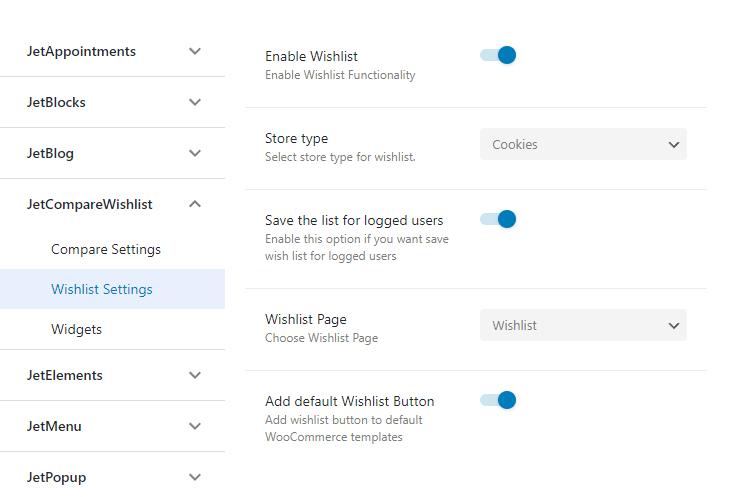 compare wishlist settings