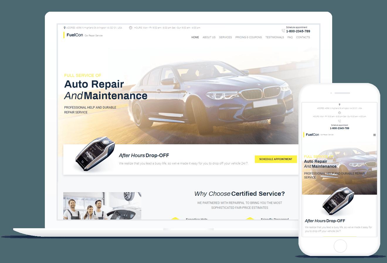 fuelcon car repair elementor template