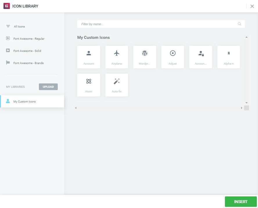 custom icons tab