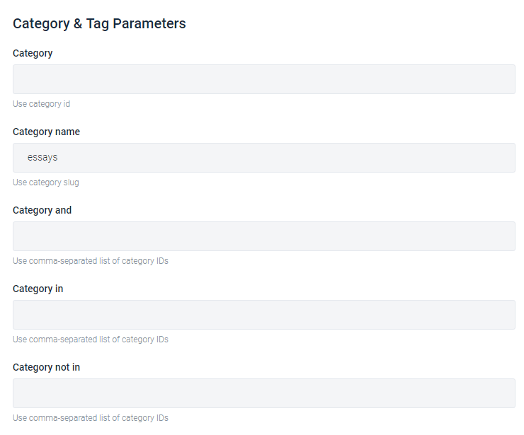 WP Query, category and tag parameters