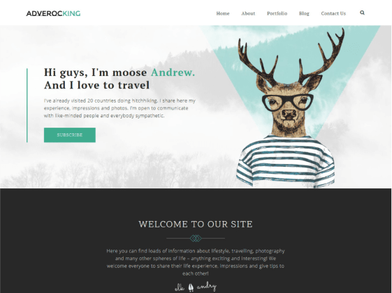 Adverocking — Personal lifestyle Elementor template