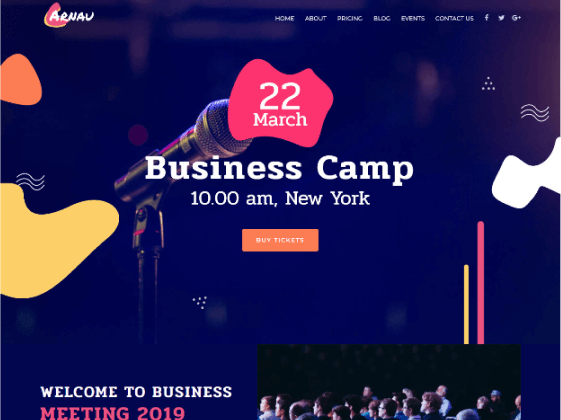 Arnau – business events Elementor template