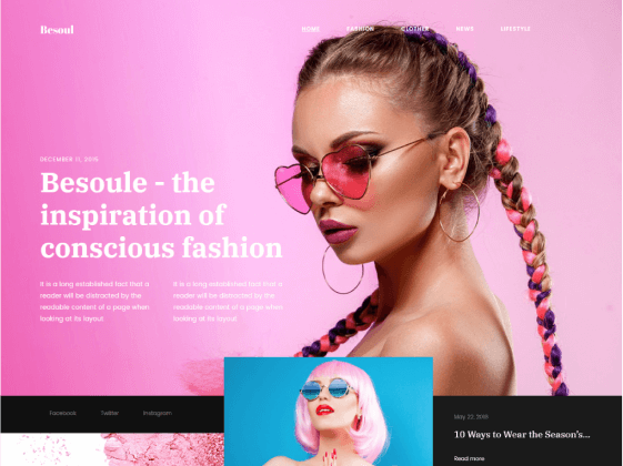 Besoul — fashion blog Elementor template