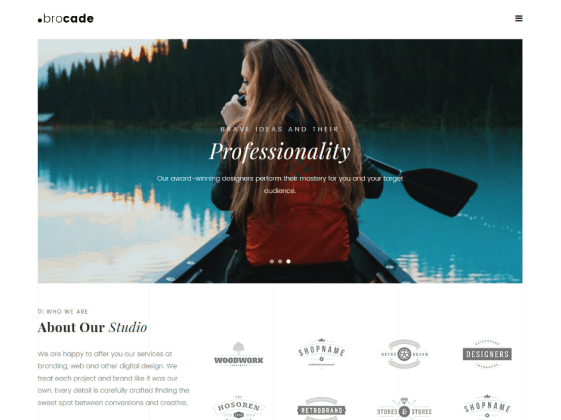Brocade — minimal design studio Elementor template