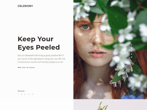 Celerony — creative splitscreen Elementor template