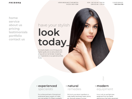 Frizory – hair salon Elementor template