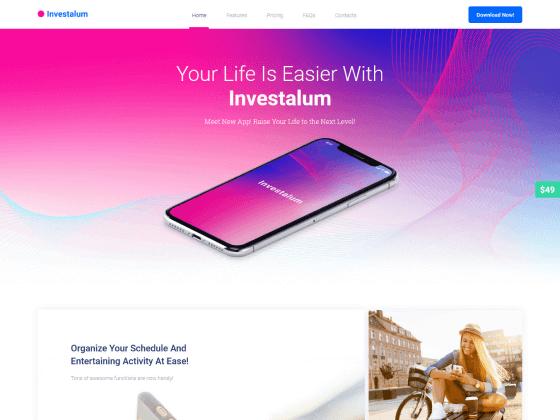 Investalum — corporate app Elementor templat