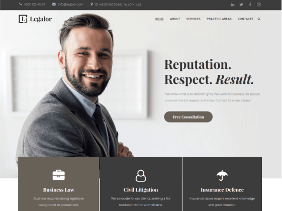 Legalor — lawyer Elementor template