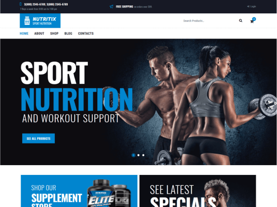 Nutritix — sports nutrition shop Elementor template
