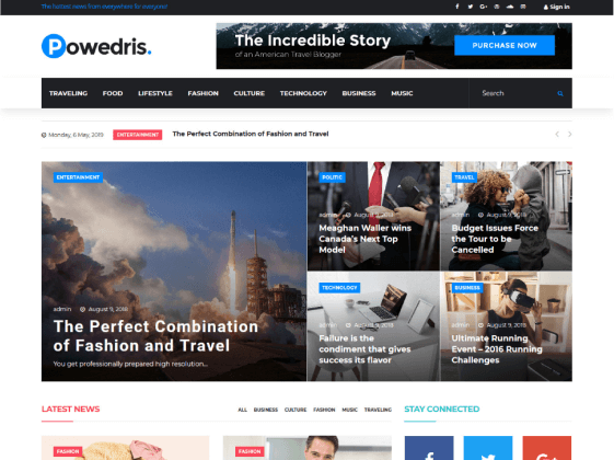 Powedris — news portal Elementor template