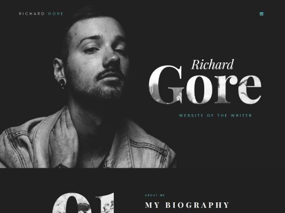 Richard Gore — writer portfolio Elementor template