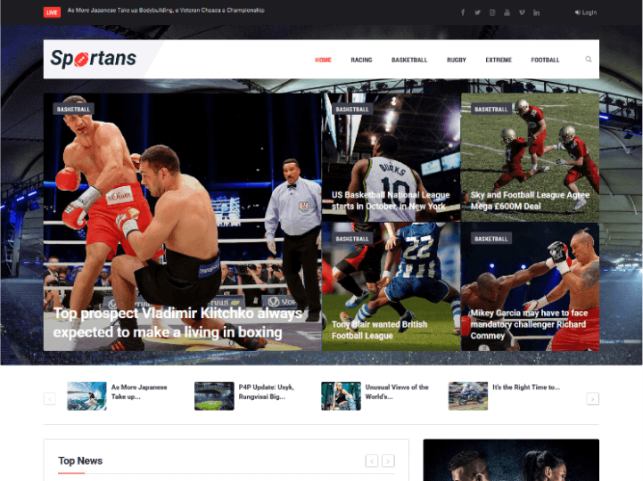 Sportans — sports news Elementor template