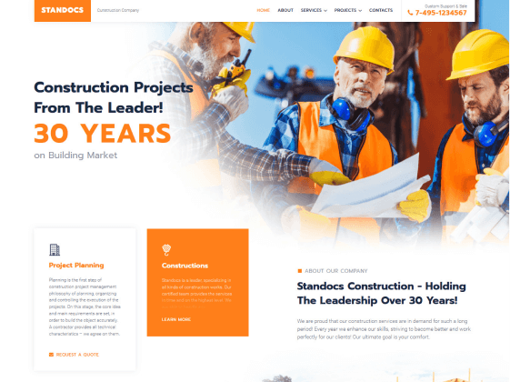 Standocs — construction company Elementor template