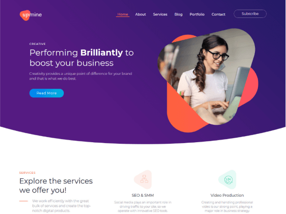 Upmine — digital agency Elementor template