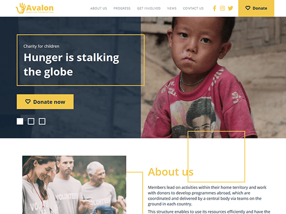 Avalon — charity organization Elementor template