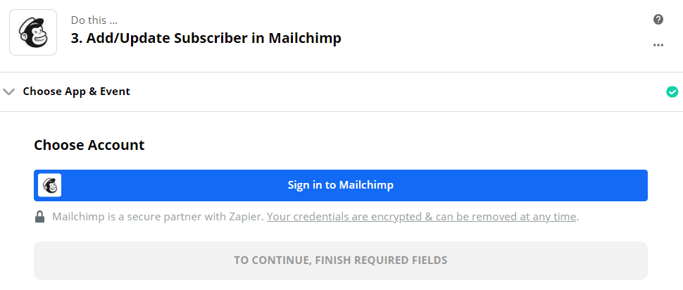 Signing into Mailchimp account for Zapier integration settings
