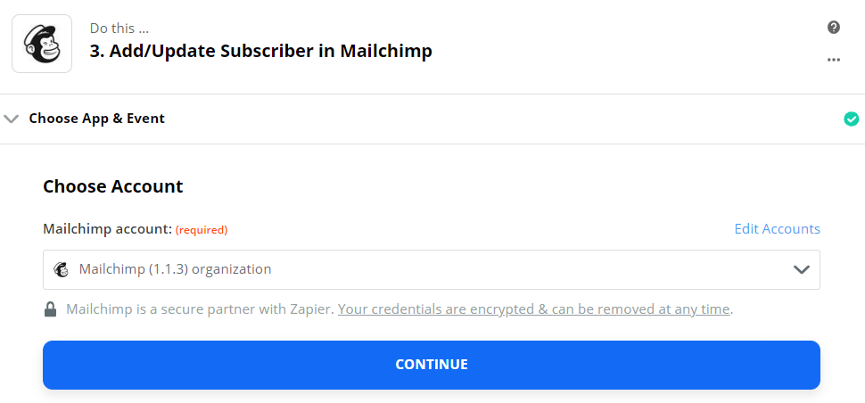 Choose account to add the subscriber in Mailchimp