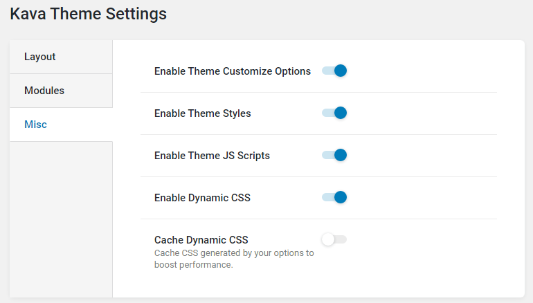 cache dynamic CSS option