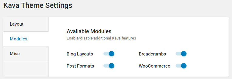 kava theme modules