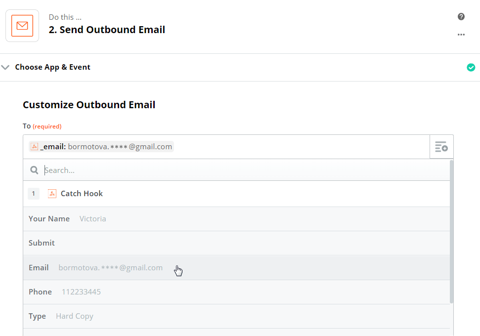 Outbound Email customization for email sending with Zapier