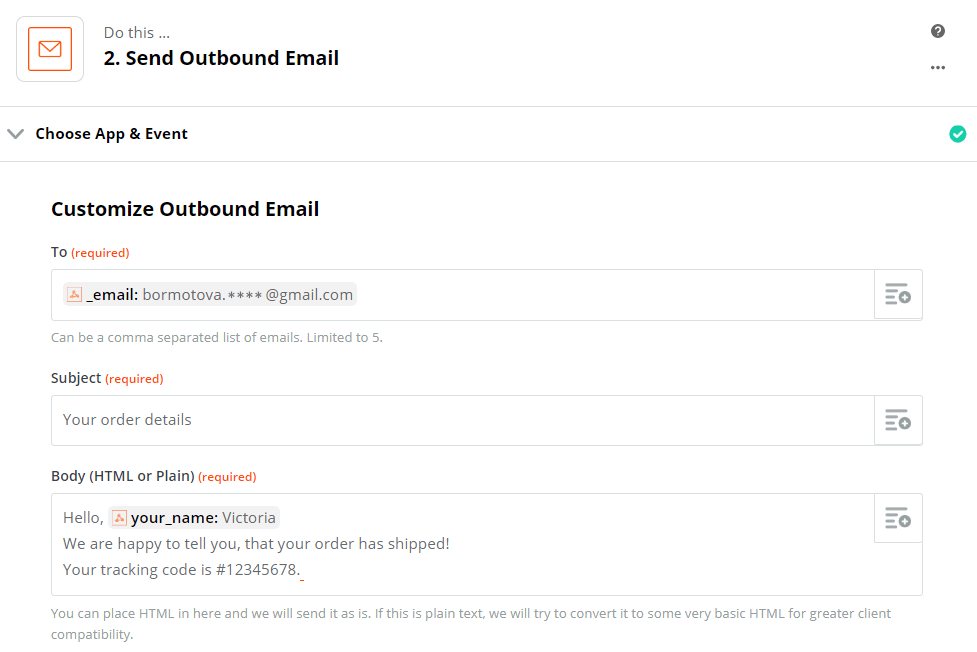 Email body customization created with Zapier email option