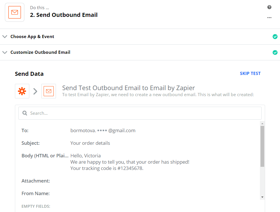 Sending test outbound email to Email by Zapier service