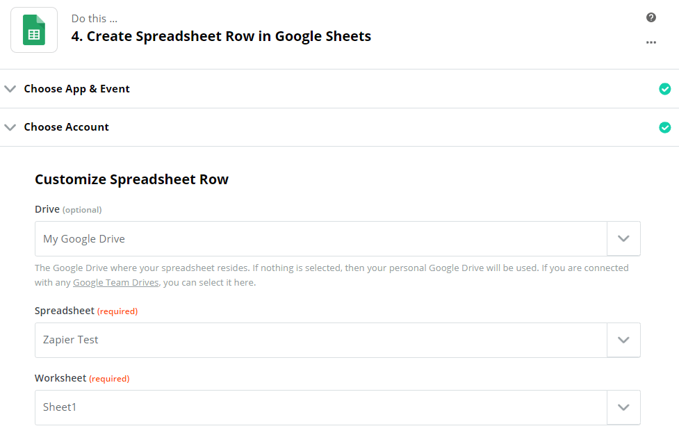 Spreadsheet row customization in the Zapier service