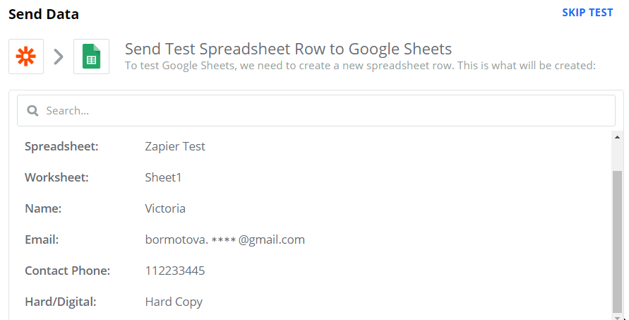 Send test spreadsheet row to Google Sheets