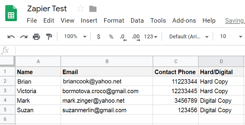 Google sheet wit hthe necessqry data which is inserted into the fields in Zapier