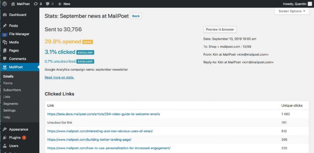 MailPoet Stats