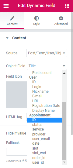 appointment queries in elementor dynamic field widget