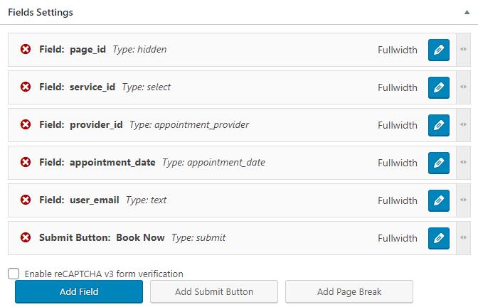 fields settings overview