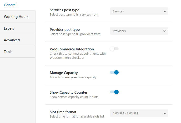 general appointment booking settings manage capacity option enabled