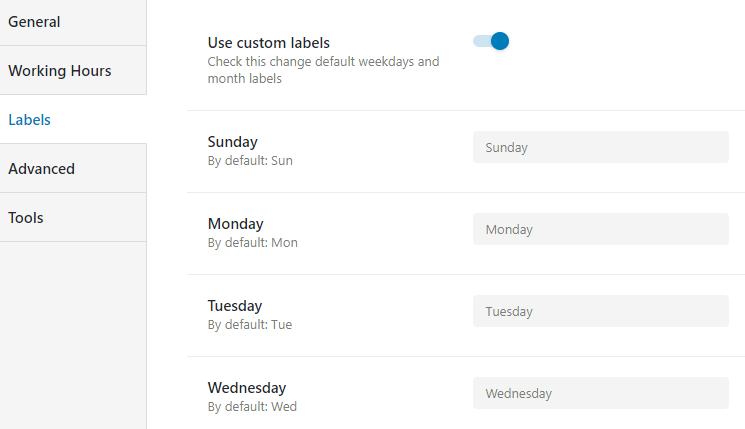 use custom labels option activated