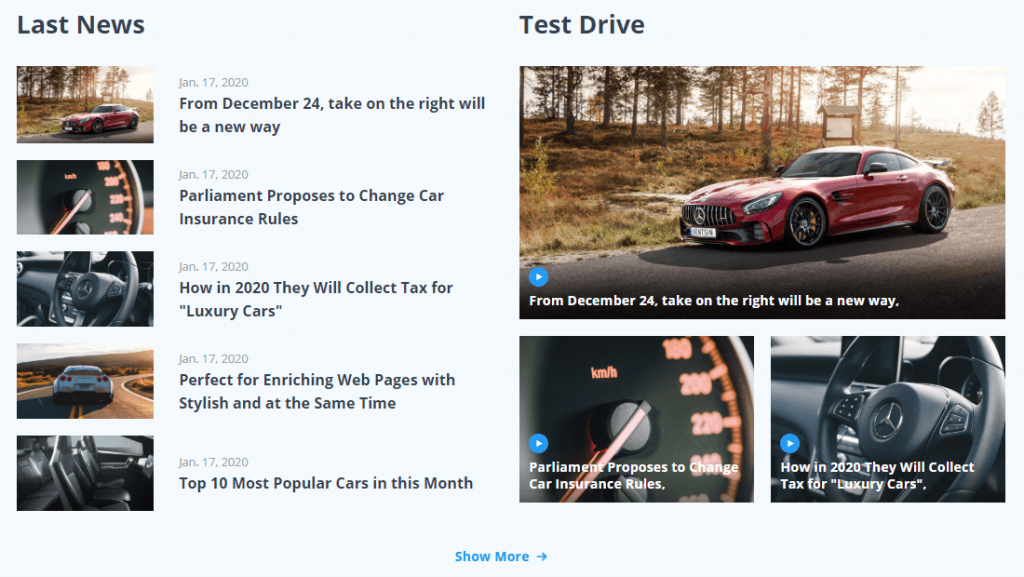 car dealer template. blog section view on the frontend