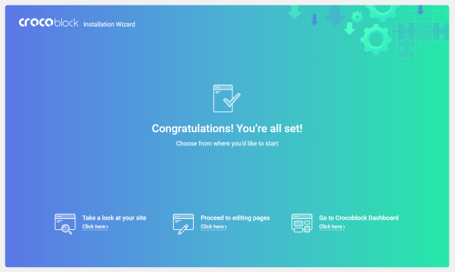 installation wizard congratulations screen