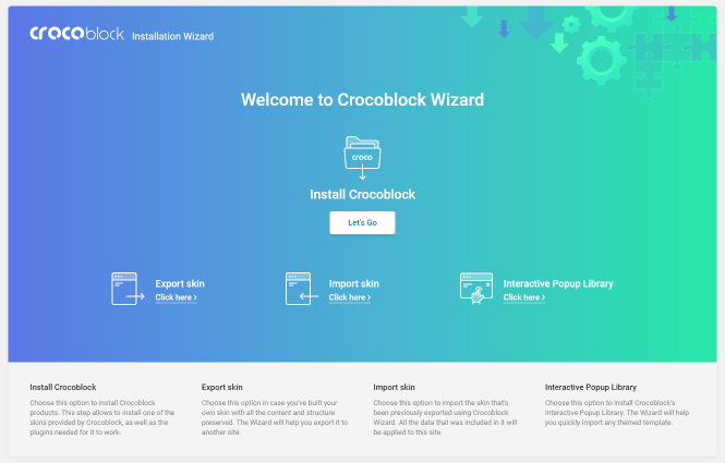 Crocoblock Wizard welcome screen