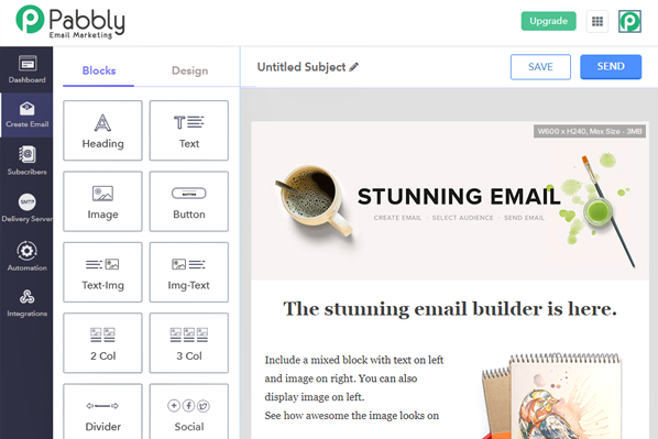 pabbly email marketing software. dashboard overview