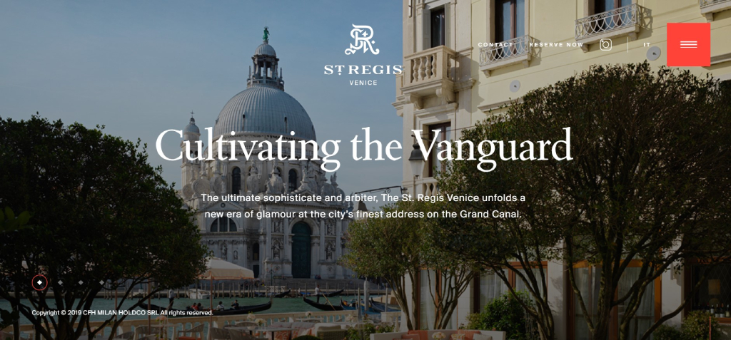 St. Regis hotel website design