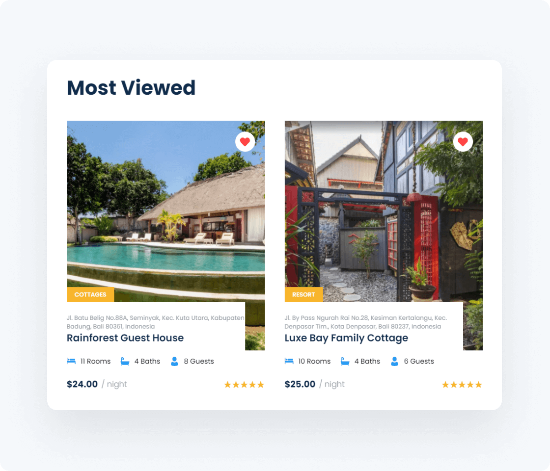 most viewed vacation rental items