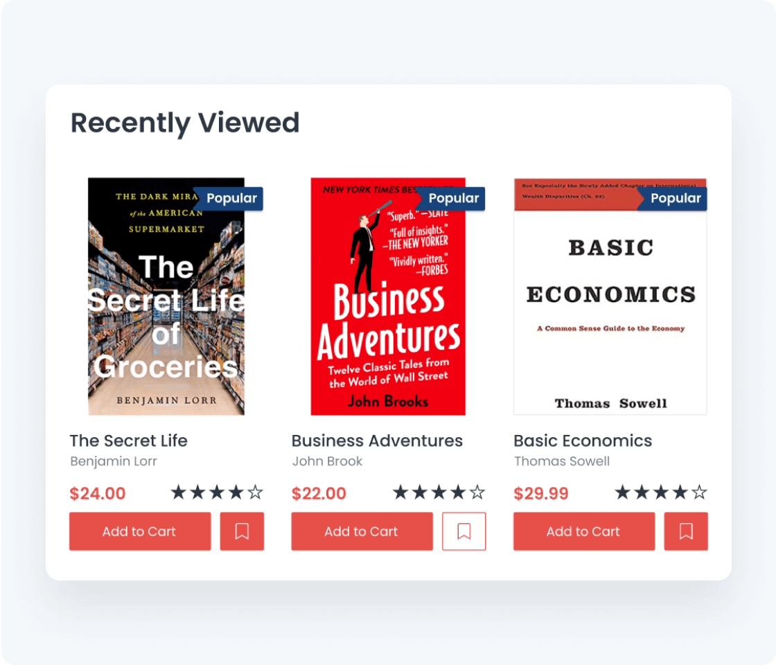 recently viewed books data store