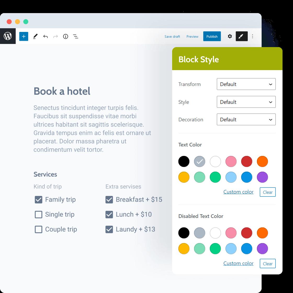 style default WP block editor