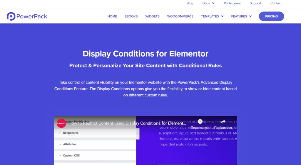 PowerPack Display Conditions for Elementor