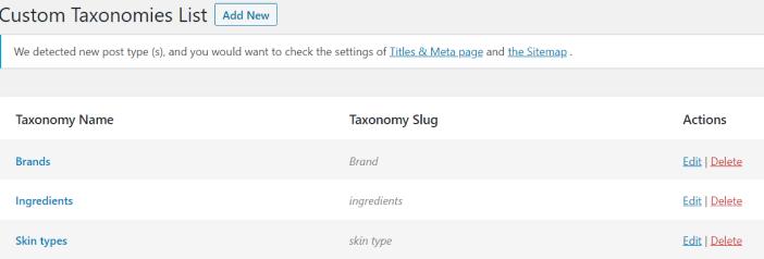 custom taxonomies list