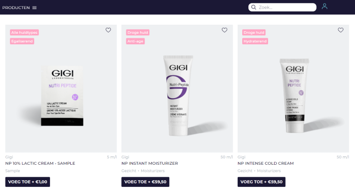 product grid on the new website